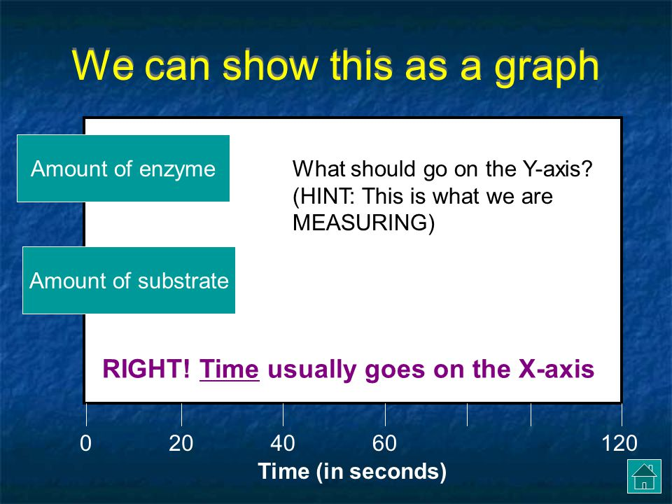 We can show this as a graph Amount of substrateTIME (in seconds) What should go on the X-axis.