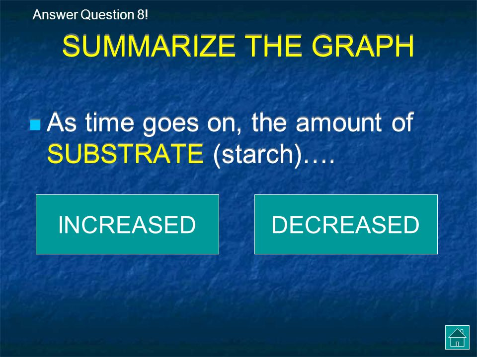 Let's GRAPH!! Time (in seconds) 0406012020 Amount of substrate