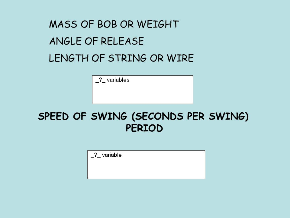 MASS OF BOB OR WEIGHT ANGLE OF RELEASE LENGTH OF STRING OR WIRE SPEED OF SWING (SECONDS PER SWING) PERIOD