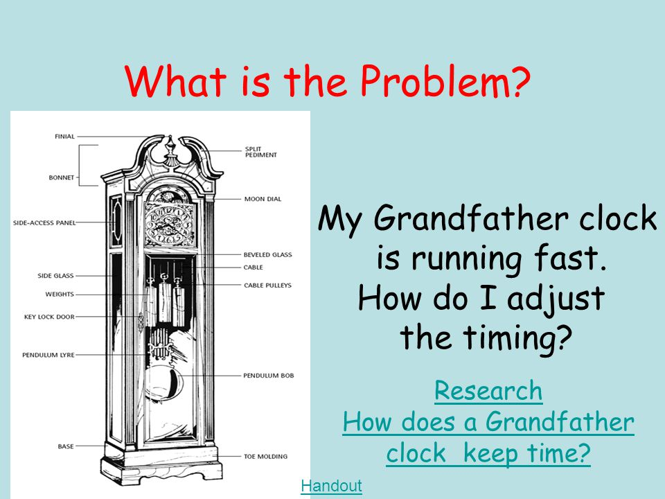 What is the Problem. My Grandfather clock is running fast.