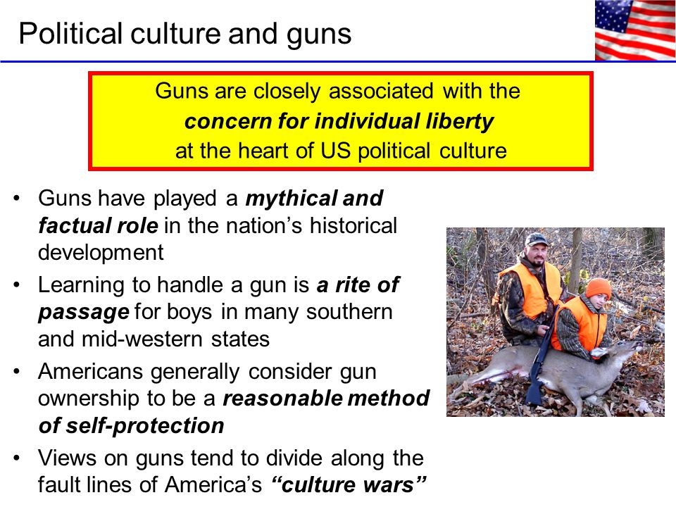 Political culture and guns Guns have played a mythical and factual role in the nation's historical development Learning to handle a gun is a rite of passage for boys in many southern and mid-western states Americans generally consider gun ownership to be a reasonable method of self-protection Views on guns tend to divide along the fault lines of America's culture wars Guns are closely associated with the concern for individual liberty at the heart of US political culture
