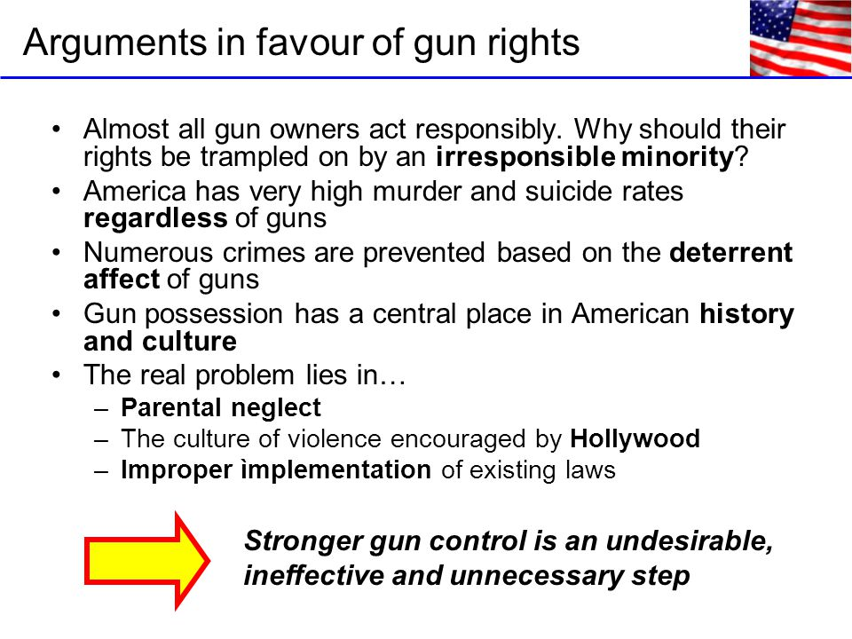 Arguments in favour of gun rights Almost all gun owners act responsibly.