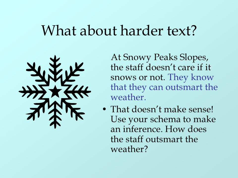 What about harder text? At Snowy Peaks Slopes, the staff doesn't care if it snows or not. They know that they can outsmart the weather. That doesn't m