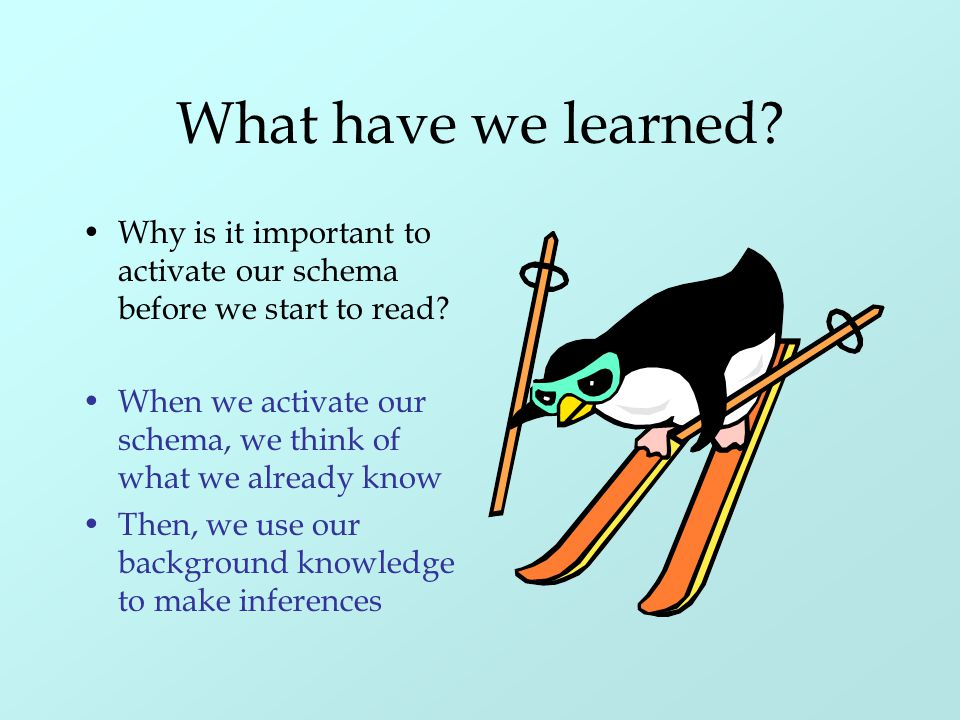 What have we learned? Why is it important to activate our schema before we start to read? When we activate our schema, we think of what we already kno