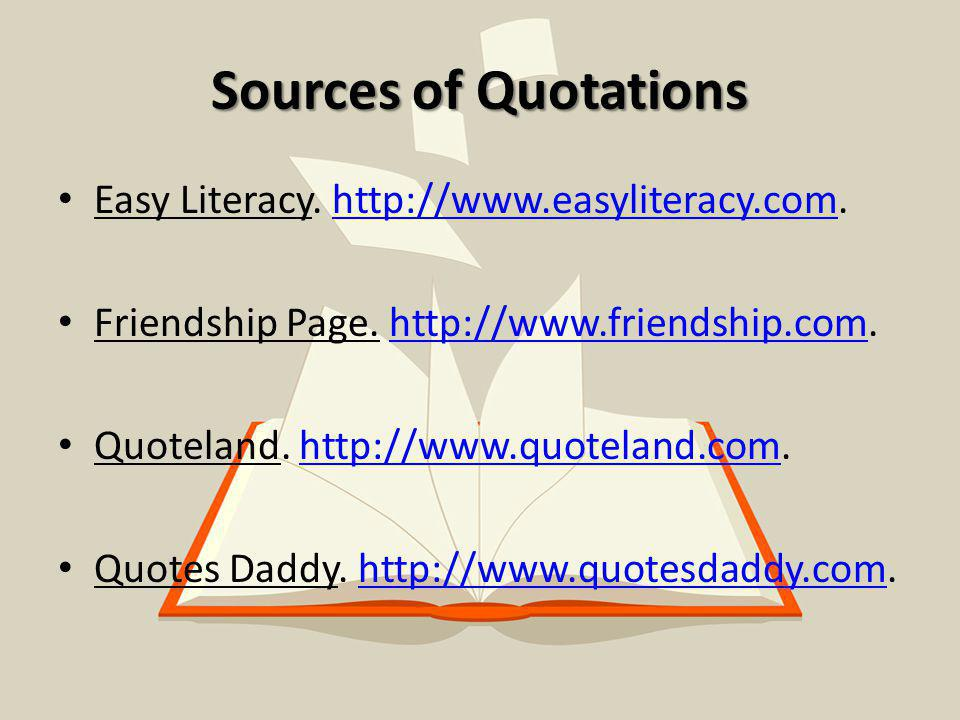 Sources of Quotations Easy Literacy.