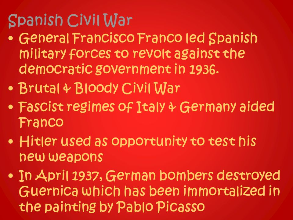 Spanish Civil War General Francisco Franco led Spanish military forces to revolt against the democratic government in 1936.