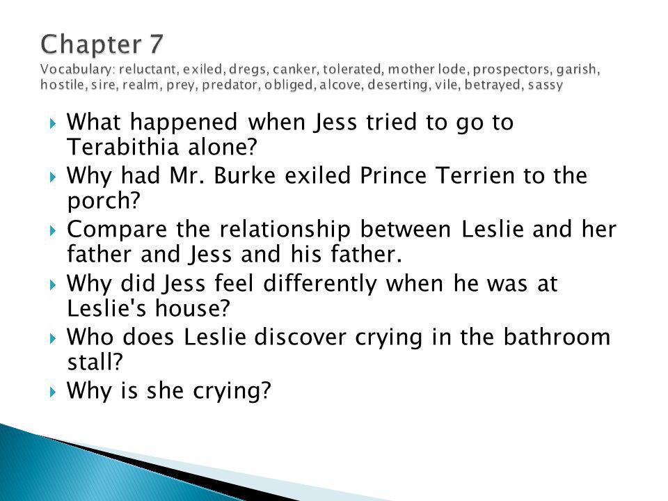 What happened when Jess tried to go to Terabithia alone?  Why had Mr. Burke exiled Prince Terrien to the porch?  Compare the relationship between