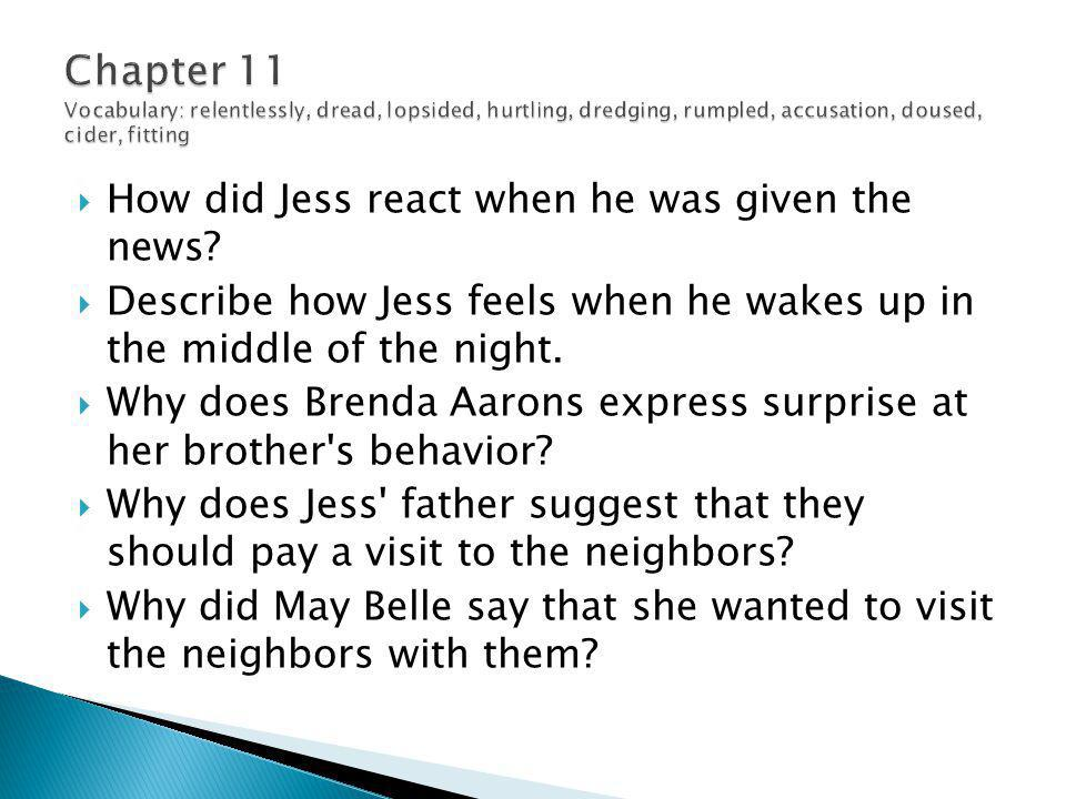  How did Jess react when he was given the news?  Describe how Jess feels when he wakes up in the middle of the night.  Why does Brenda Aarons expre