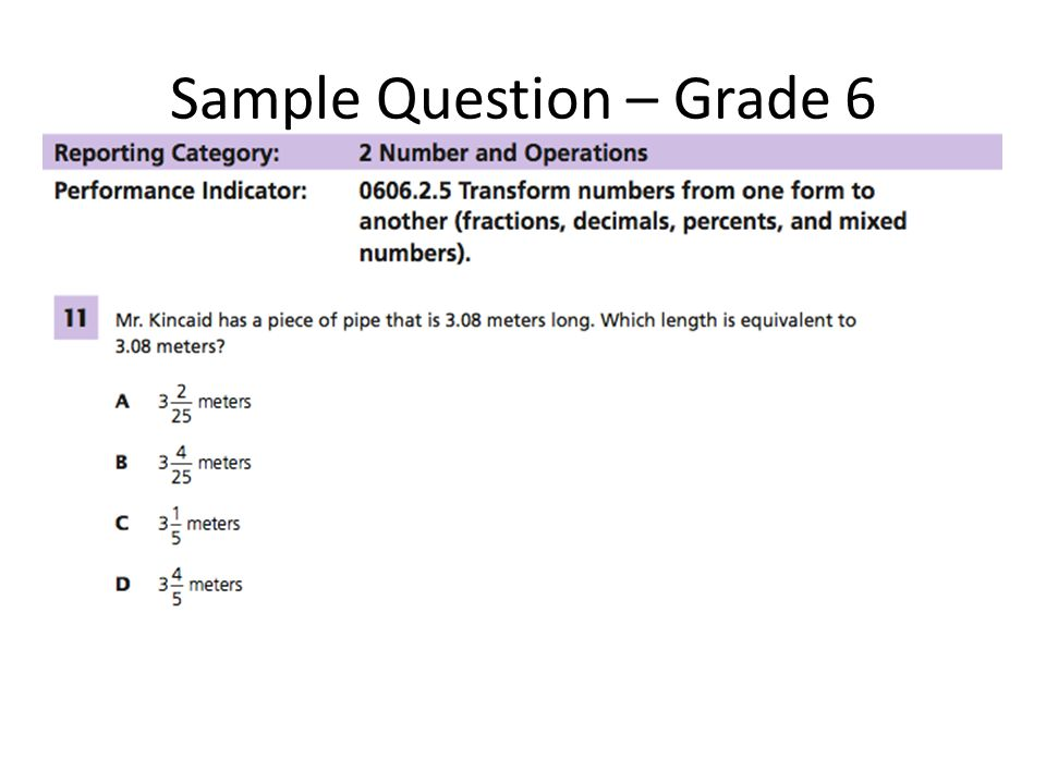 Sample Question – Grade 6
