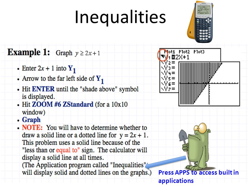 Inequalities Press APPS to access built in applications