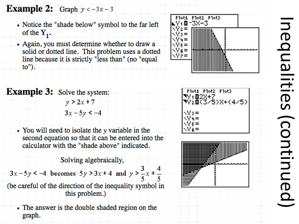 Inequalities (continued)