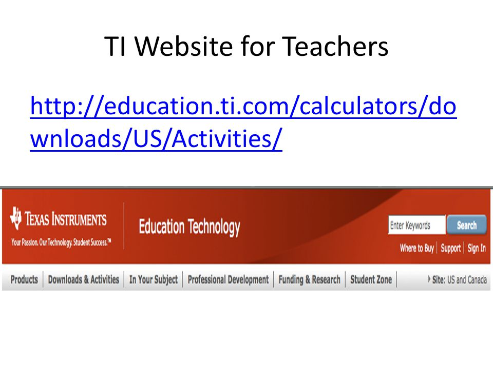 TI Website for Teachers http://education.ti.com/calculators/do wnloads/US/Activities/