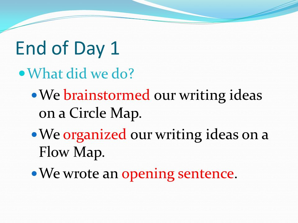 End of Day 1 What did we do. We brainstormed our writing ideas on a Circle Map.