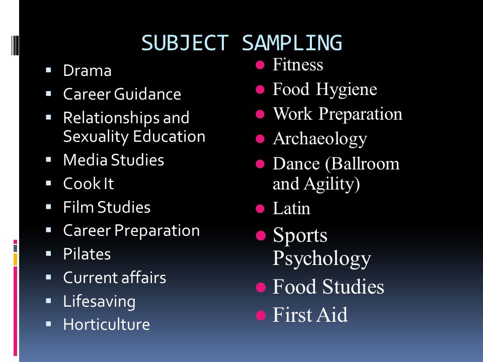 SUBJECT SAMPLING  Drama  Career Guidance  Relationships and Sexuality Education  Media Studies  Cook It  Film Studies  Career Preparation  Pilates  Current affairs  Lifesaving  Horticulture Fitness Food Hygiene Work Preparation Archaeology Dance (Ballroom and Agility) Latin Sports Psychology Food Studies First Aid