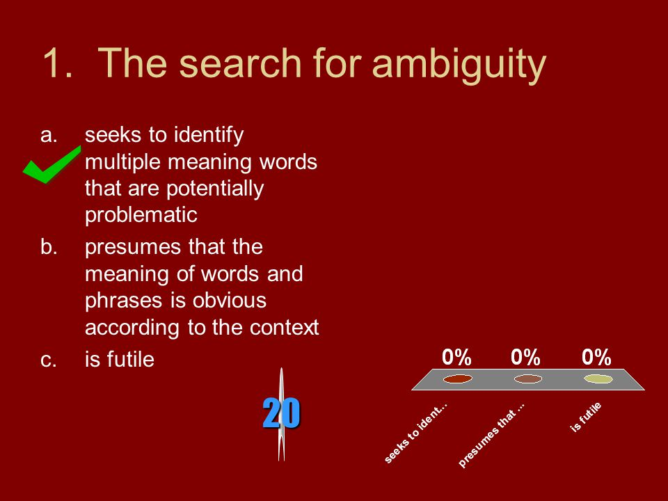 1. The search for ambiguity 20 a.seeks to identify multiple meaning words that are potentially problematic b.presumes that the meaning of words and ph