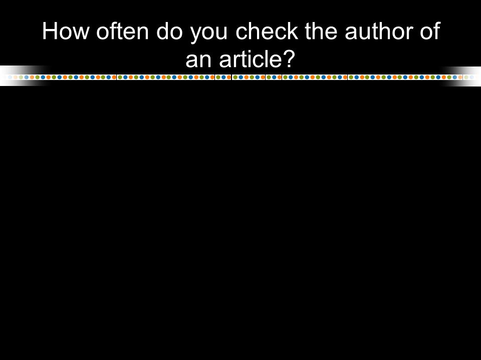 How often do you check the author of an article?