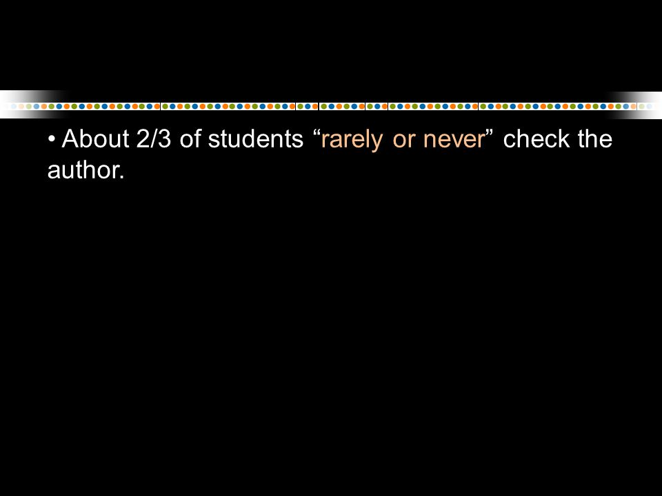 "About 2/3 of students ""rarely or never"" check the author."