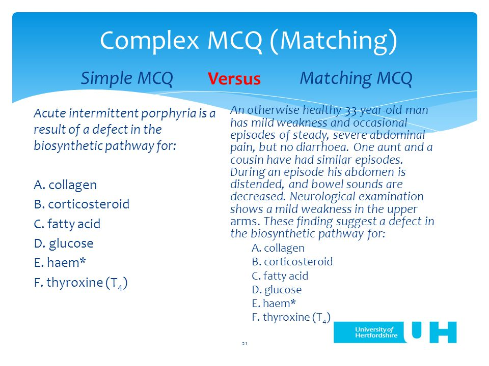 Complex MCQ (Matching) Simple MCQ Acute intermittent porphyria is a result of a defect in the biosynthetic pathway for: A.