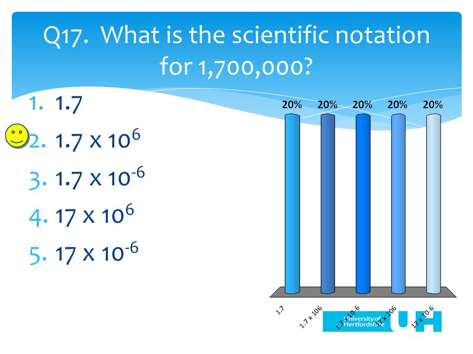 Q17. What is the scientific notation for 1,700,000.