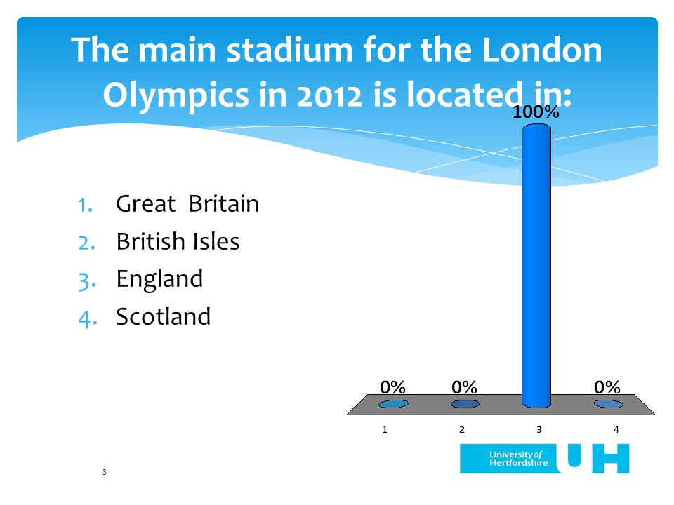 The main stadium for the London Olympics in 2012 is located in: 1.Great Britain 2.British Isles 3.England 4.Scotland 8