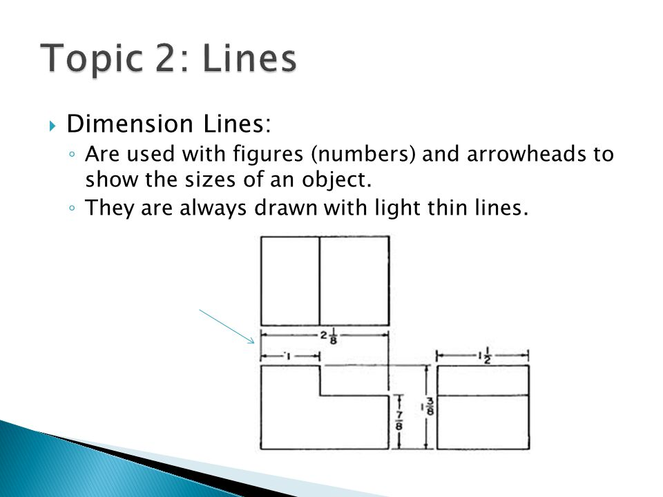  Dimension Lines: ◦ Are used with figures (numbers) and arrowheads to show the sizes of an object.