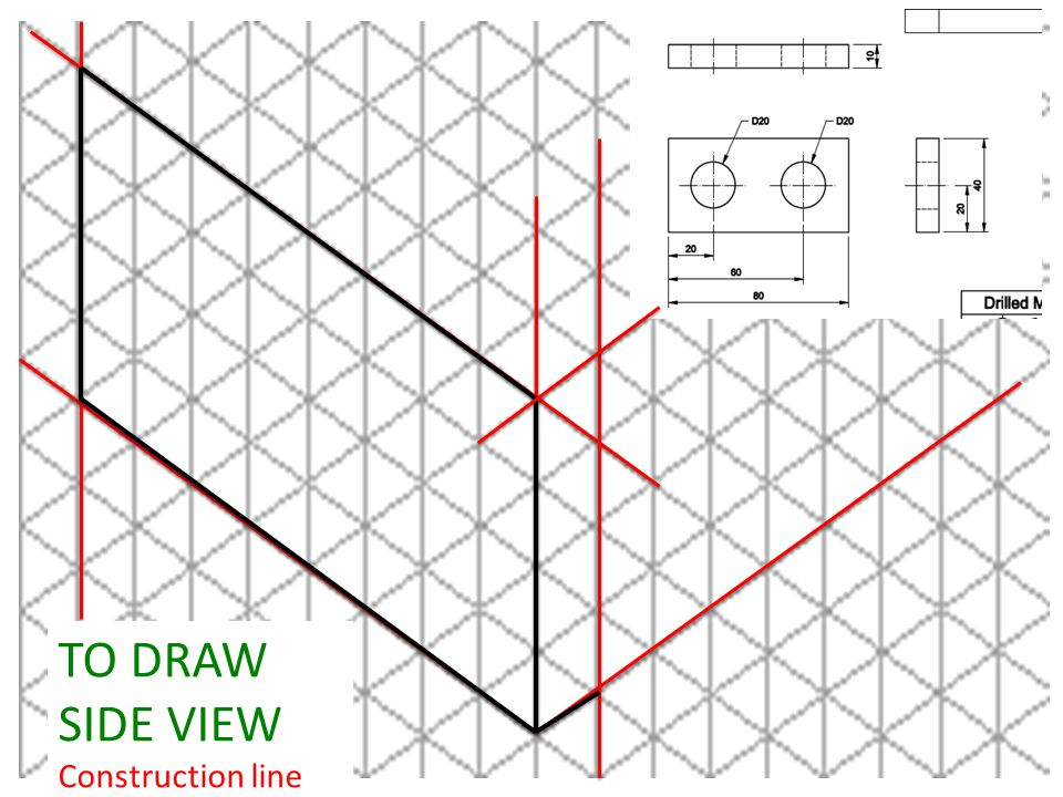 TO DRAW SIDE VIEW Construction line