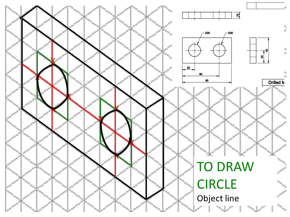 x x x x x x x x TO DRAW CIRCLE Object line