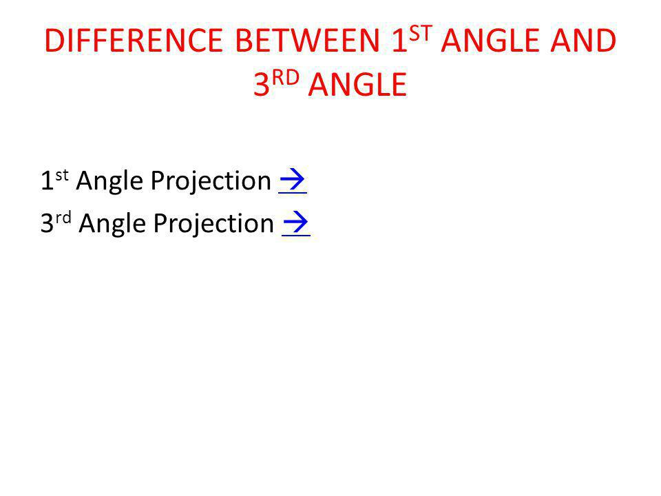 DIFFERENCE BETWEEN 1 ST ANGLE AND 3 RD ANGLE 1 st Angle Projection   3 rd Angle Projection  