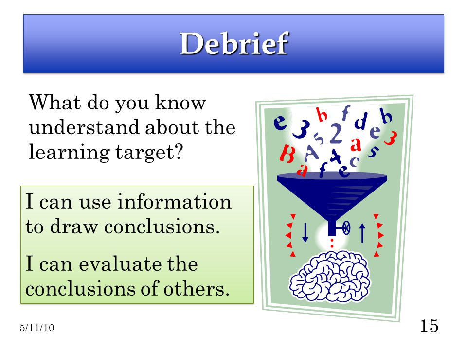 15 DebriefDebrief What do you know understand about the learning target.