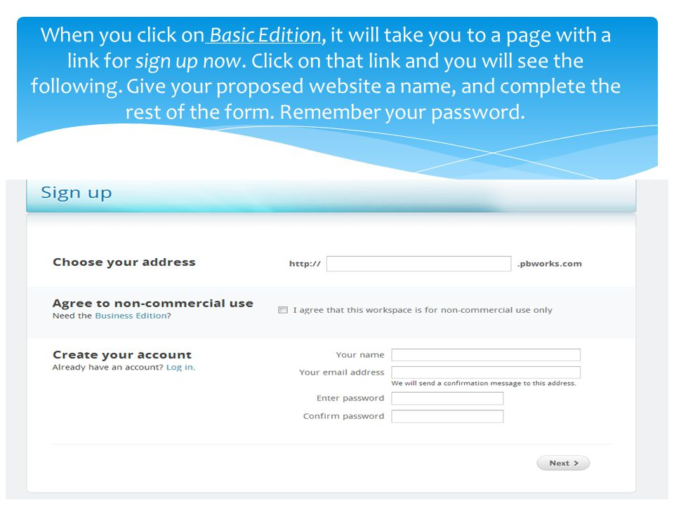 Example of basic sign-up below to create a website for ircwhatever