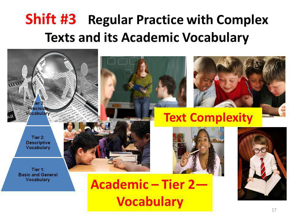 Shift #3 Regular Practice with Complex Texts and its Academic Vocabulary 17 Academic – Tier 2— Vocabulary Tier 3: Precision Vocabulary Tier 2: Descriptive Vocabulary Tier 1: Basic and General Vocabulary Text Complexity