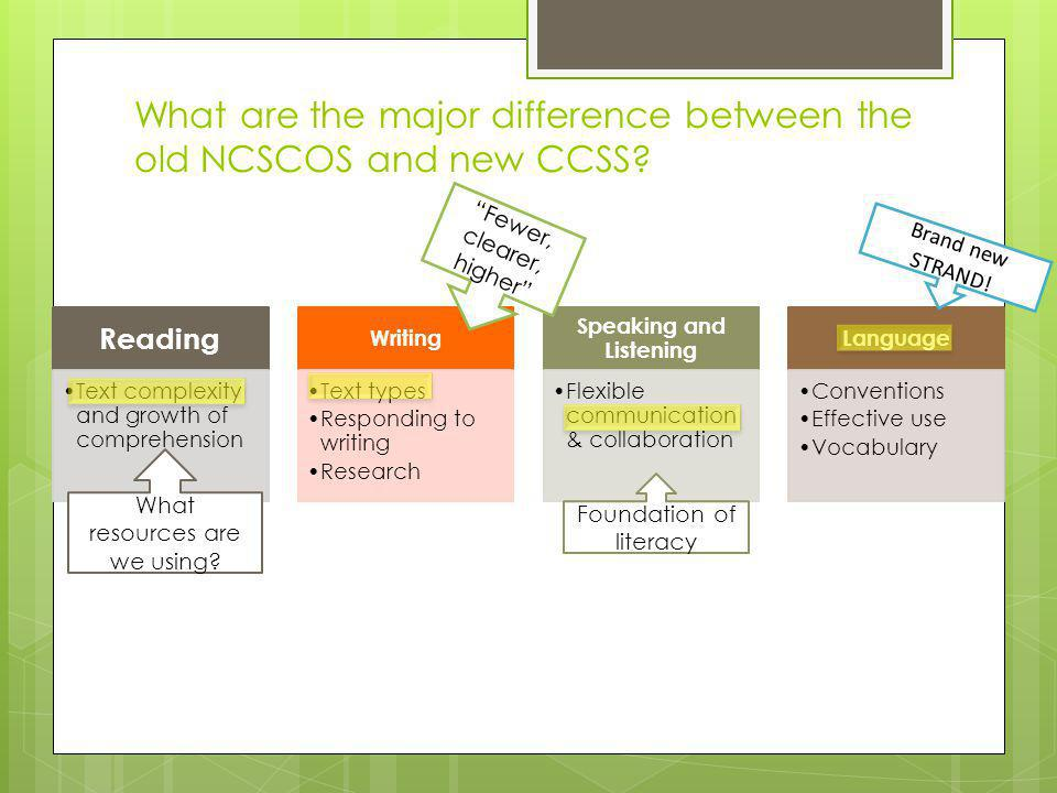 What are the major difference between the old NCSCOS and new CCSS.