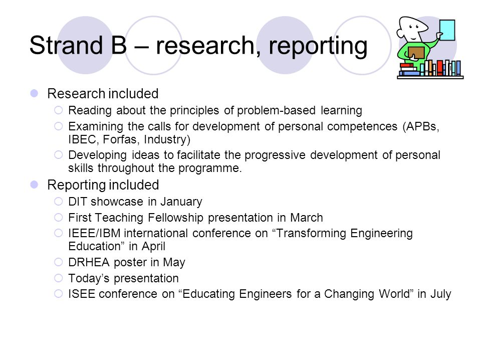 Strand B – research, reporting Research included  Reading about the principles of problem-based learning  Examining the calls for development of personal competences (APBs, IBEC, Forfas, Industry)  Developing ideas to facilitate the progressive development of personal skills throughout the programme.
