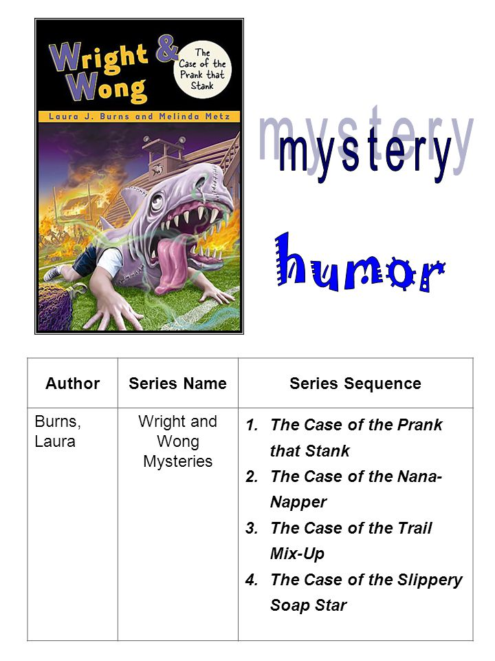 AuthorSeries NameSeries Sequence Burns, Laura Wright and Wong Mysteries 1.The Case of the Prank that Stank 2.The Case of the Nana- Napper 3.The Case of the Trail Mix-Up 4.The Case of the Slippery Soap Star