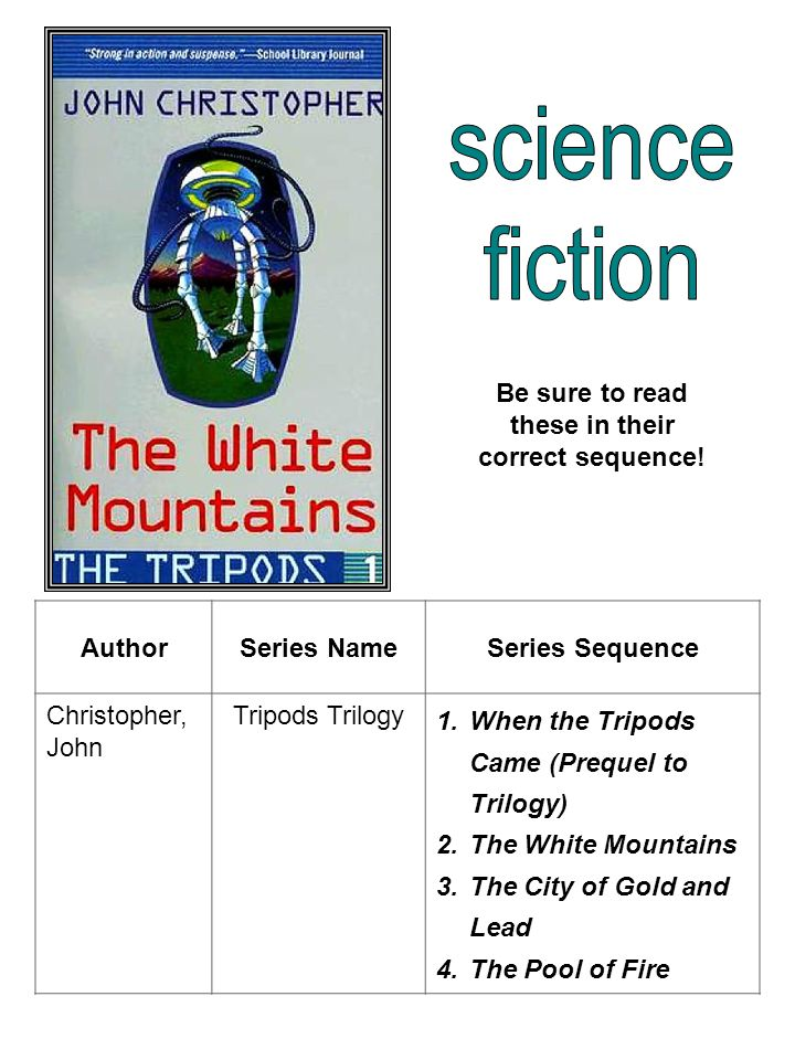 AuthorSeries NameSeries Sequence Christopher, John Tripods Trilogy 1.When the Tripods Came (Prequel to Trilogy) 2.The White Mountains 3.The City of Gold and Lead 4.The Pool of Fire Be sure to read these in their correct sequence!