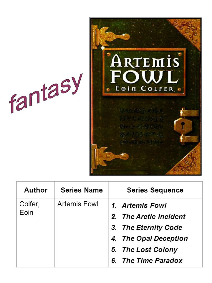 AuthorSeries NameSeries Sequence Colfer, Eoin Artemis Fowl 1.Artemis Fowl 2.The Arctic Incident 3.The Eternity Code 4.The Opal Deception 5.The Lost Colony 6.The Time Paradox