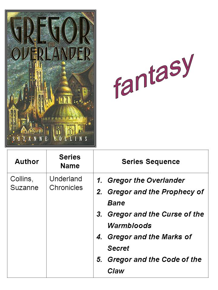 Author Series Name Series Sequence Collins, Suzanne Underland Chronicles 1.Gregor the Overlander 2.Gregor and the Prophecy of Bane 3.Gregor and the Curse of the Warmbloods 4.Gregor and the Marks of Secret 5.Gregor and the Code of the Claw