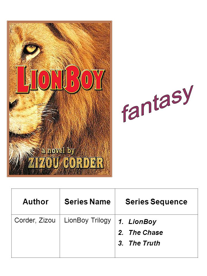 AuthorSeries NameSeries Sequence Corder, ZizouLionBoy Trilogy 1.LionBoy 2.The Chase 3.The Truth