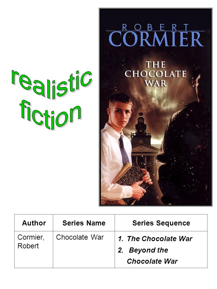AuthorSeries NameSeries Sequence Cormier, Robert Chocolate War 1.The Chocolate War 2.
