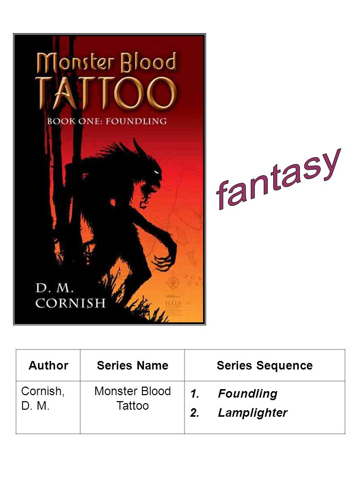 AuthorSeries NameSeries Sequence Cornish, D. M. Monster Blood Tattoo 1.Foundling 2.Lamplighter