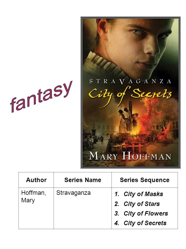 AuthorSeries NameSeries Sequence Hoffman, Mary Stravaganza 1.City of Masks 2.City of Stars 3.City of Flowers 4.City of Secrets