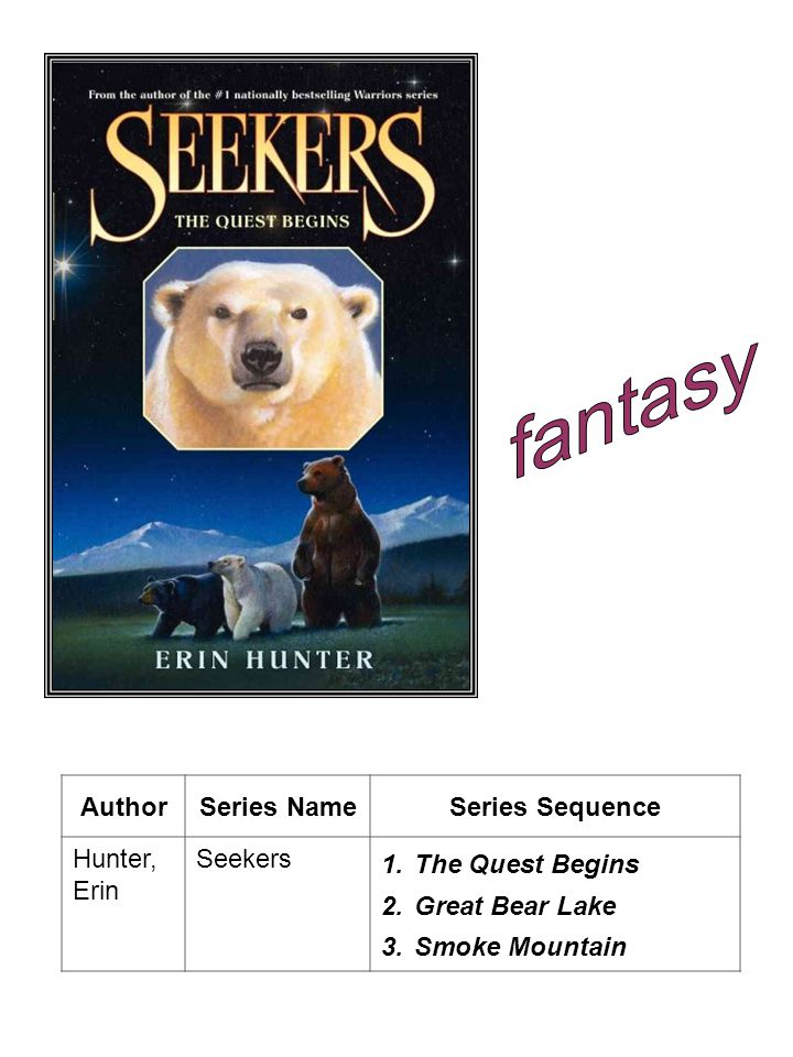 AuthorSeries NameSeries Sequence Hunter, Erin Seekers 1.The Quest Begins 2.Great Bear Lake 3.Smoke Mountain