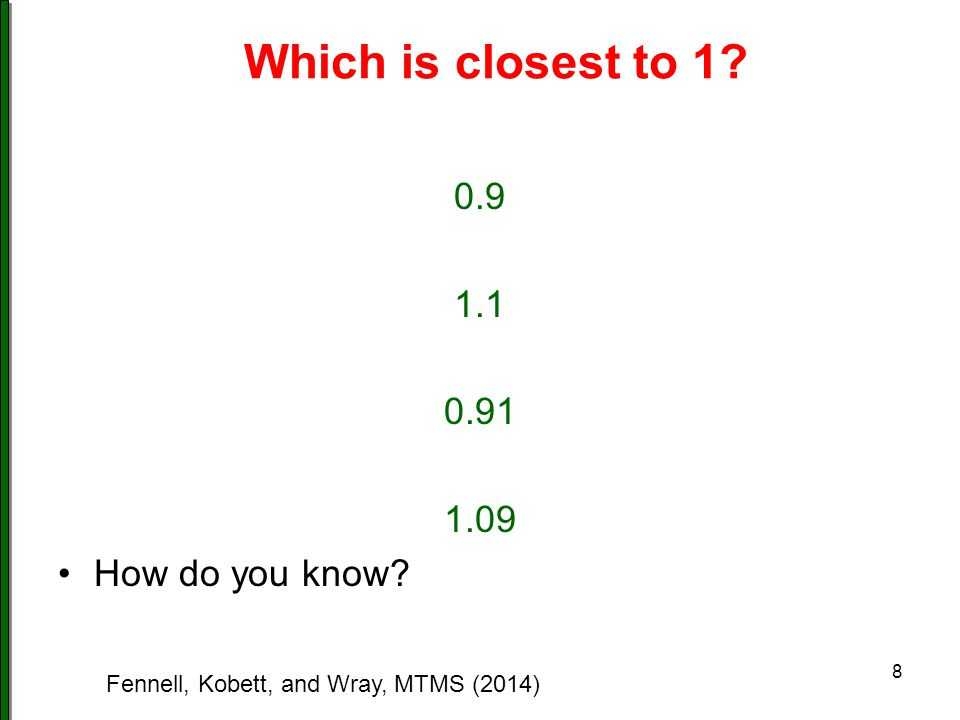 Comparing and Between Think of a number between the following – show how you know.