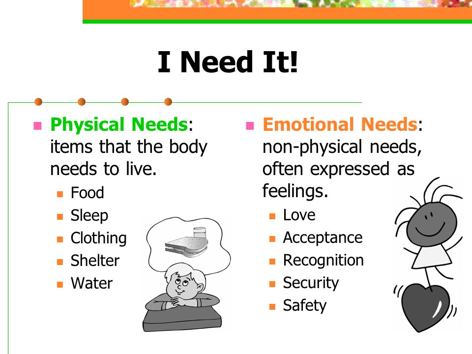 I Need It. Physical Needs: items that the body needs to live.
