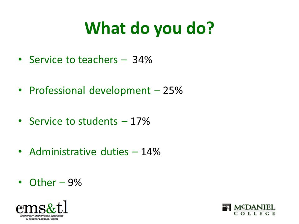 What do you do? Service to teachers – 34% Professional development – 25% Service to students – 17% Administrative duties – 14% Other – 9%