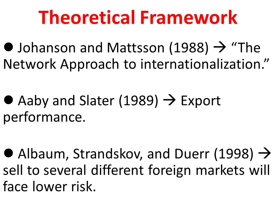 "Theoretical Framework Johanson and Mattsson (1988)  ""The Network Approach to internationalization."" Aaby and Slater (1989)  Export performance. Alba"