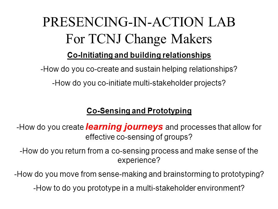 PRESENCING-IN-ACTION LAB For TCNJ Change Makers Co-Initiating and building relationships -How do you co-create and sustain helping relationships? -How