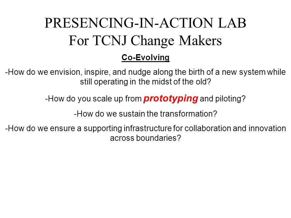 PRESENCING-IN-ACTION LAB For TCNJ Change Makers Co-Evolving -How do we envision, inspire, and nudge along the birth of a new system while still operat