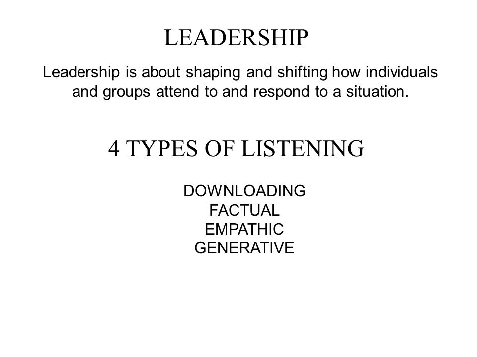 LEADERSHIP Leadership is about shaping and shifting how individuals and groups attend to and respond to a situation. 4 TYPES OF LISTENING DOWNLOADING
