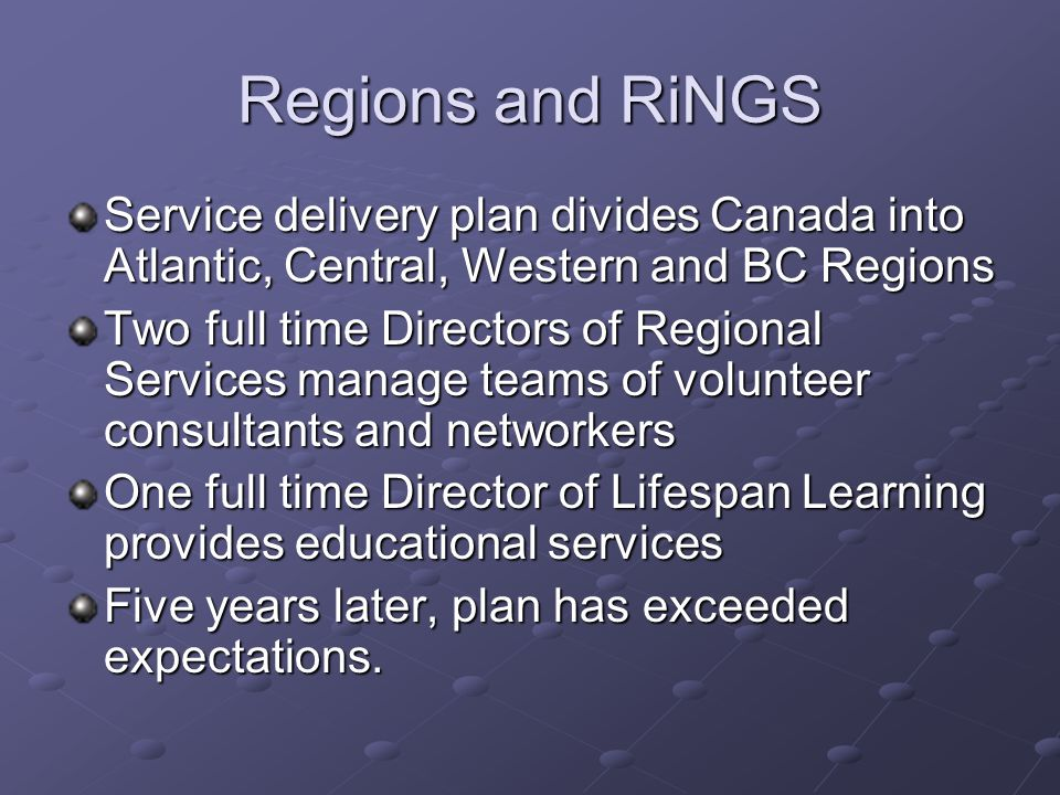 Regions and RiNGS Service delivery plan divides Canada into Atlantic, Central, Western and BC Regions Two full time Directors of Regional Services manage teams of volunteer consultants and networkers One full time Director of Lifespan Learning provides educational services Five years later, plan has exceeded expectations.